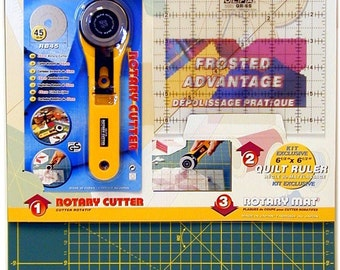 Olfa Premium Rotary Cutter Cutting Mat Quilt making Kit (Includes Ruler and Rotary Cutter) Green Model Number RTY-ST/QR
