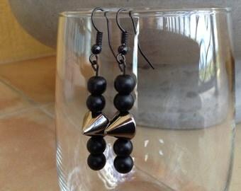 Punk rocker style spike dangle earrings