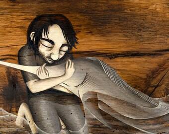 Swordfish Art Print, Giclee Art Print, Painting on Wood, Environment Art, Whimsical Fish Art