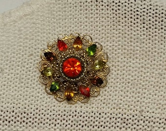 Sale 10% Vintage Green Yellow and Orange Brooch