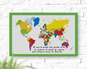 BUY 2, GET 1 FREE! World Map cross stitch pattern, Instant Download, pdf counted cross stitch pattern, Quote cross stitch, #P104