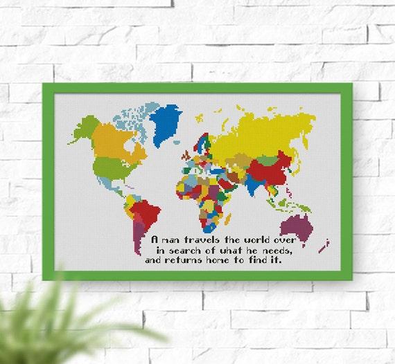 Buy 2 get 1 free world map cross stitch pattern instant world map cross stitch pattern instant download pdf counted cross stitch pattern quote cross stitch p104 from natalineedlework on etsy studio gumiabroncs Choice Image