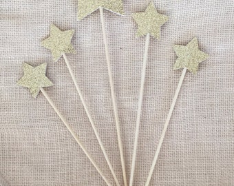 Gold Glitter Star Cake Topper Set (5),Twinkle Twinkle Little Star,Birthday,Baby Shower,Wedding,Star Topper,Party Decor,Gold Glitter Star