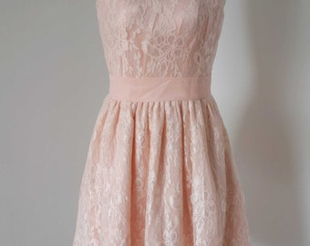 2015 Scoop Baby Pink Lace Short Bridesmaid Dress