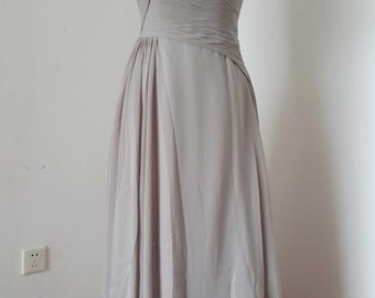 Straps Light Grey Chiffon Floor-length Long Bridesmaid Dress
