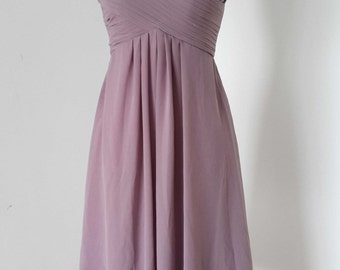 V-neck Purple Grey Chiffon Short Bridesmaid Dress