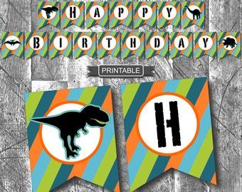 DIY Dinosaur Birthday Party Decorations Banner Printable PDF Instant Download-Happy Birthday