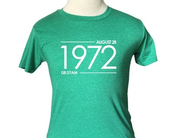 Custom Date & Time T-Shirt - Soft Vintage Style - Green (S M L XL) Birthday Anniversary Special Occasion Wedding Reunion Event Gift Present