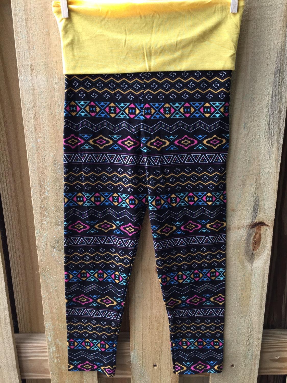 Trendy Tribal Girl Yoga Pants With A Bright Sunshine Yellow