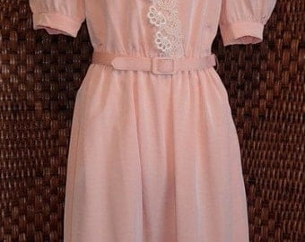 Peach with Lace Belted Dress Sz 16