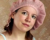 Knitted beret, panama, summer beret, beret cotton, pink beret