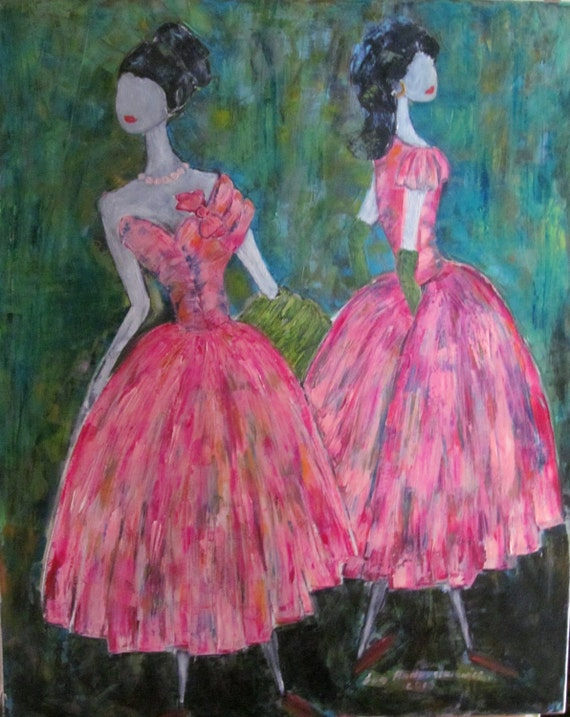 Pink Dancers.Palette knife,Impasto. Large oil painting.  Oil painting original. colours;pink, turquoise, blue,black, white.    .