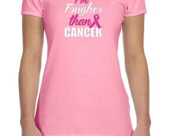 Breast Cancer Awareness Ladies Shirt Im Tougher than Cancer Crewneck Tee T-Shirt TOUGH-1001