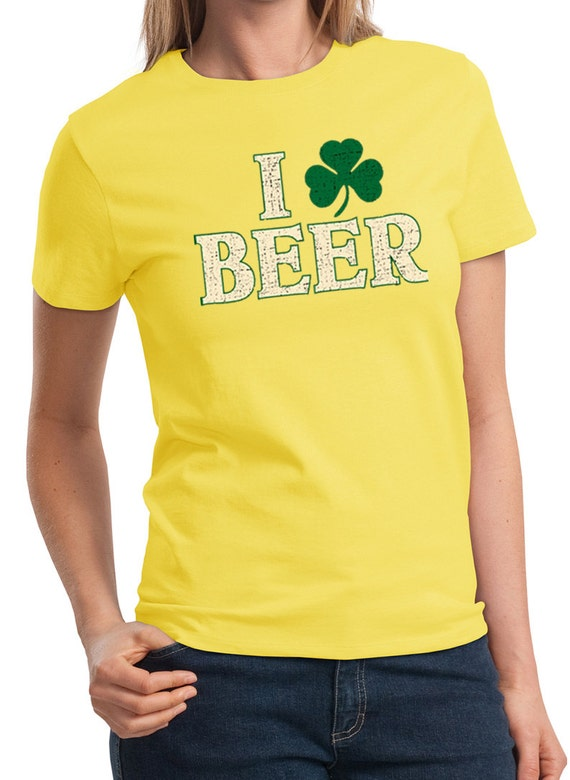 St patrick 39 s day ladies shirt i love beer tee t shirt for I love beer t shirt