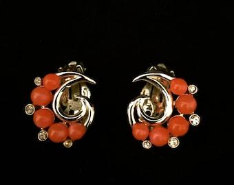 60's Coral Bead and Rhinestone Earrings                    VG1291