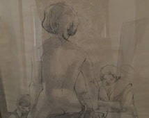 """Large Drawing of Female Nude Art,  Artist?  Drawing Framed 28""""x36"""" Original Art signed by the Artist Large  Affordable wall art!"""