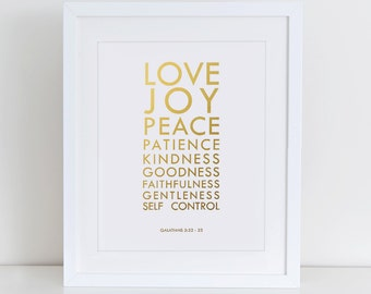 Fruit of the Spirit Galatians 5:22 Art Print, Bible Verse Wall Art, Christian Print, Printable Home Decor, Love Joy Peace Patience Art Print