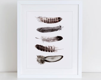 Feather Watercolor Art Print, Inspirational Wall Art, Instant Download,  Printable Home Decor, Digital Art Print, Watercolor Art, Feather