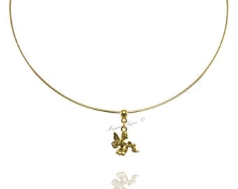 Rigid Choker necklace with pendant Golden Fairy Gold Fairy Elf