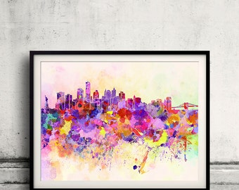 New York skyline in watercolor background 8x10 in. to 12x16 in. Poster Digital Wall art Illustration Print Art Decorative  - SKU 0018