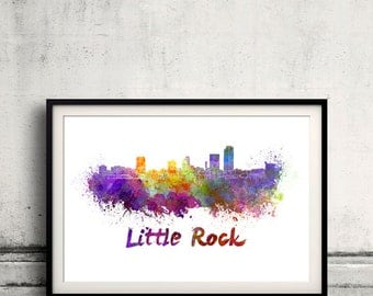 Little Rock skyline in watercolor over white background with name of city 8x10 in. to 12x16 in. Poster art Illustration Print  - SKU 0242