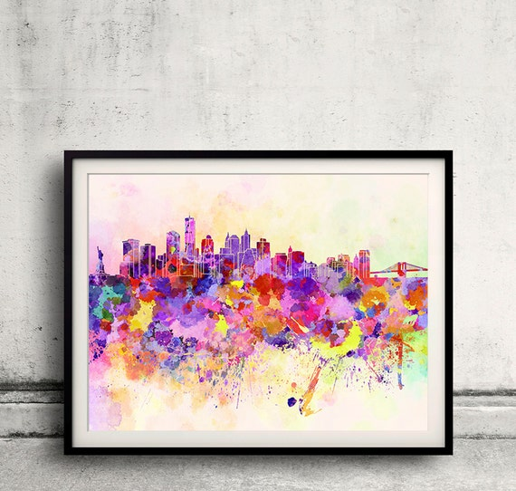 Watercolor New York: New York Skyline In Watercolor Background 8x10 In. To 12x16