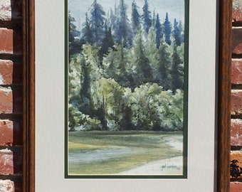 Vintage Original Watercolor Painting By Pat Hunter Forest Landscape