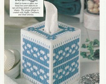 Blue and White Tissue Cover in Plastic Canvas