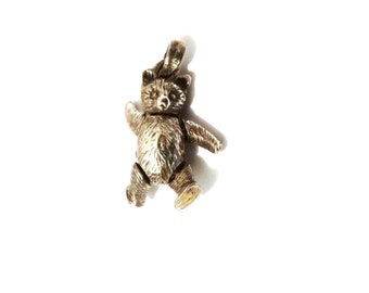 1960's Articulated  Sterling Silver BEAR Pendant.