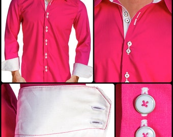 Bright Pink with White Men's Designer Dress Shirt - Made To Order in USA