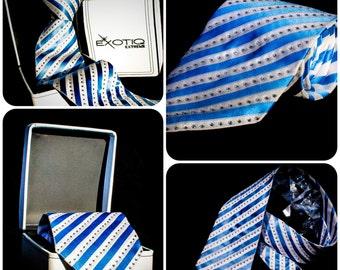 Blue Rhinestone Italian Silk Tie in Faux Leather Box