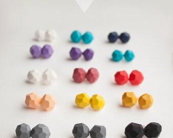 Geometric sterling silver stud earrings STONES, polymer clay