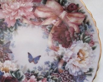Vintage 1994 Bradford Exchange Lena Liu Circle of Love Plate 1st issue Floral Greetings Series with COA, orig box
