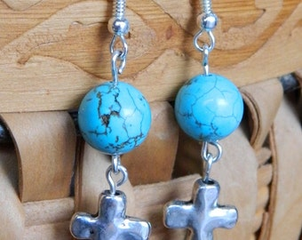 Turquoise Howlite bead with silver cross dangle earring