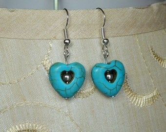 Turquoise Heart Earrings with Silver Bead.  **1/2 price shipping thru 02/29/2016**