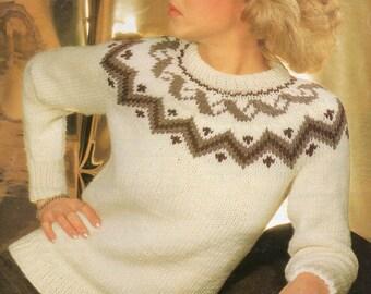 Ladies Knitting Pattern PDF Yoked Chunky Sweater