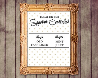 Gold Polka Dot Glitter Customized Wedding Signature Cocktails Sign