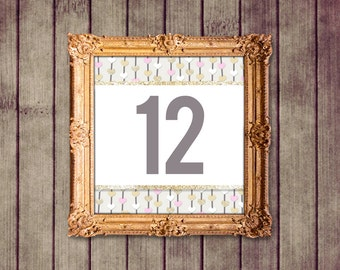 Floating Hearts Pink Gold Ivory Wedding Table Numbers Signs 1-25