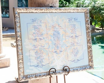 Beach Wedding Seating Chart - Custom Designed Escort Sign - Made to Order Design - Wedding Reception Seating Chart - Sea Glass Collection