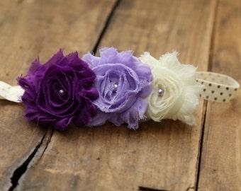 Purple ombre headband, Baby girl headband, Newborn headband, Summer headband, Purple shabby flower, Lavender headband, Plum