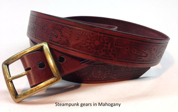 steunk gear mahogany leather belt mahogany belt genuine