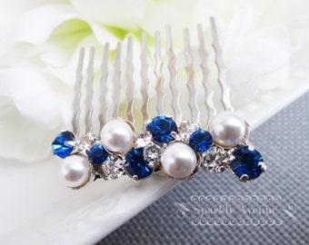 Something Blue Bridal Hair Comb Swarovski Wedding Hair Comb Pearl and Rhinestone Hair Comb Vintage Style Ivory Pearl Swarovski Crystal Piper