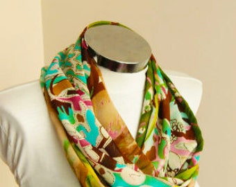 Spring Summer Fashion floral infinity scarf: Olive green, brown turquoise Scarf  shawl wrap spring summer fashion gift for her spring scarf
