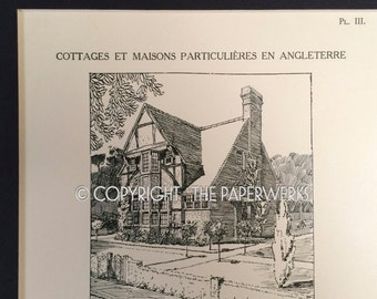 Original Lithograph English Cottage Plans Cottages Et Maisons Particulieres En Angleterre Plate III