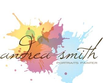 premade logo design, watercolor logo, scrapbooking logo, crafts