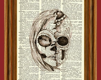 Dia De Los Muertos Gothic Skull Girl Dark Eerie Horror Scary Story Upcycled Dictionary Vintage Art Print Poster