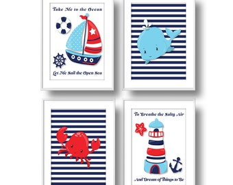 Nautical Nursery Decor, Take Me to the Ocean Nursery Wall Art, Sailboat, Whale, Crab & Lighthouse