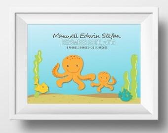 Ocean Nursery, Boy Nursery Decor Birth Stat Print, Nursery Wall Art: Dolphin, Octopus, Whale, Turtle or Seahorse