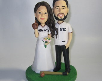 Unique wedding cake topper funny cartoon figure custom personalized Baseball fans cake topper