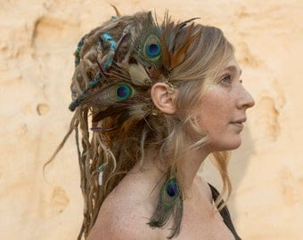 Alluring ear-wing - incredible ear cuff with a mix of earth-toned and vibrant peacock feathers in browns, blues and purples *FOXGLOVE*